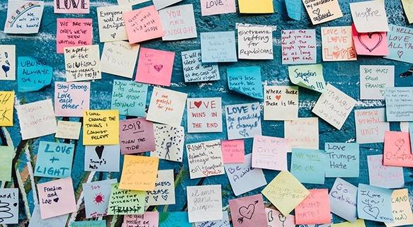 hundreds of postit notes on board